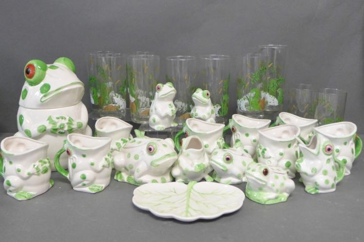 1970's Frog Serving Ware and Accessories