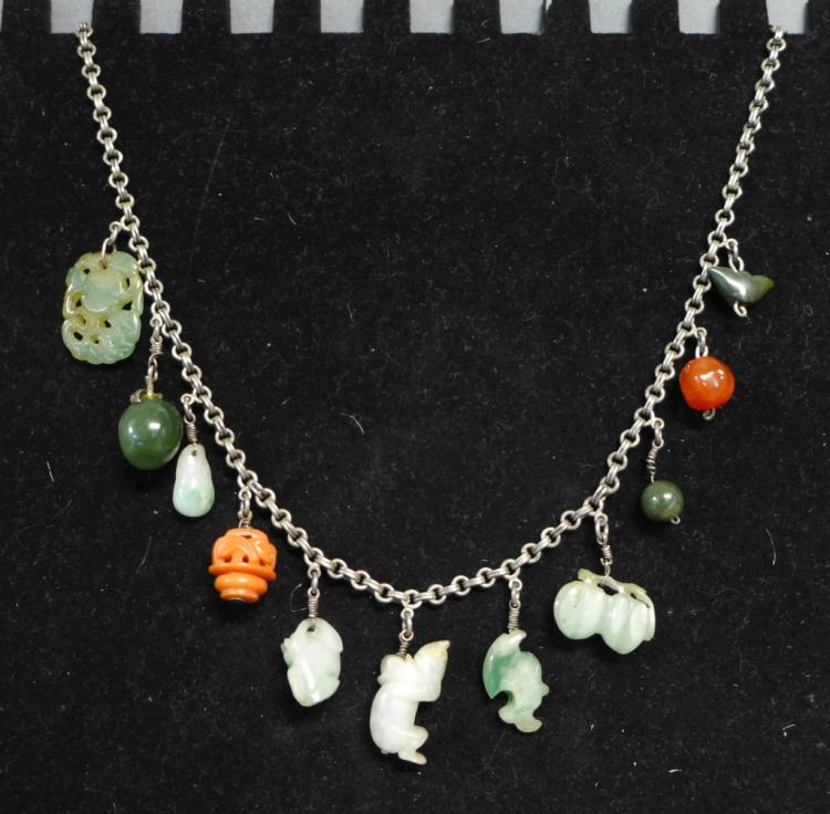 Silver & Jade Charm Necklace