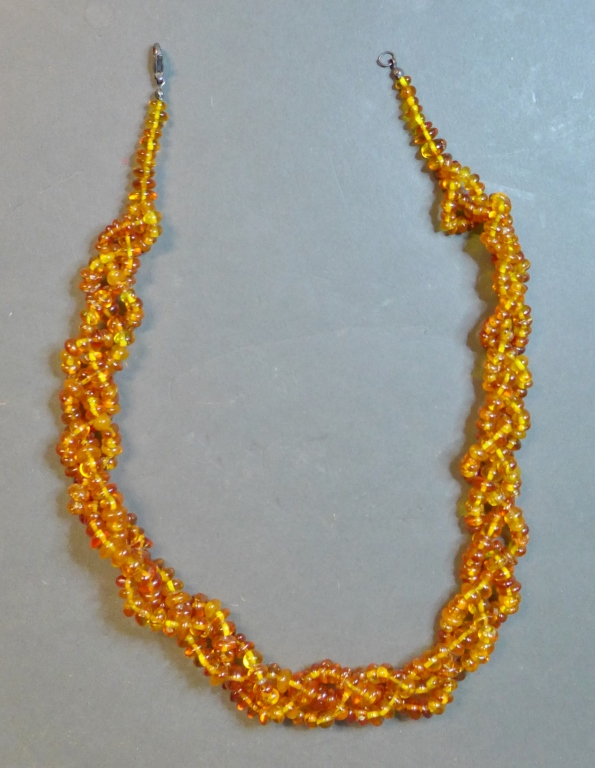 Triple Strand Braided Amber Bead Necklace