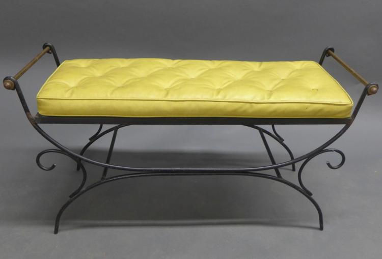 Vintage Iron Bench w/ Cushion