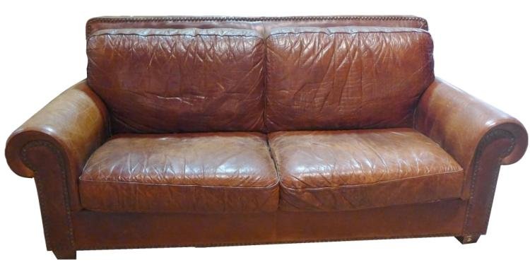 Long Leather Club Sofa Couch