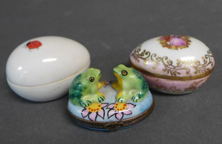 Grouping of French Limoges Porcelain Boxes