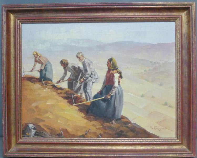 Signed Russian Figural Painting