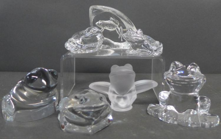 Collection of Signed Glass & Crystal Frogs