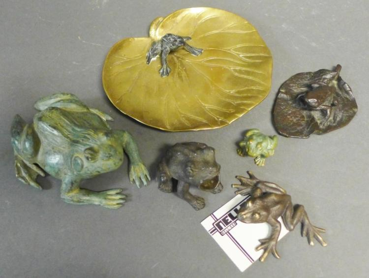 Patinated Bronze Frog Figurines