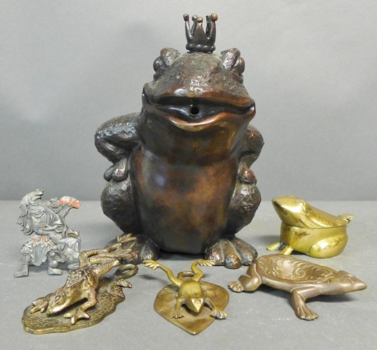 Collection of Frog Sculptures and Accessories