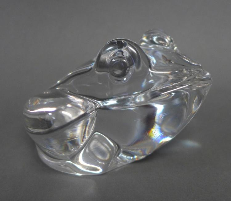 Large Daum France Clear Crystal Frog