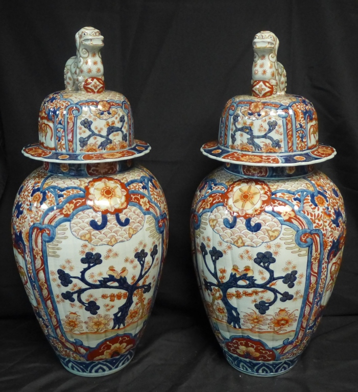 Pair Impressive Imari Urns and Covers