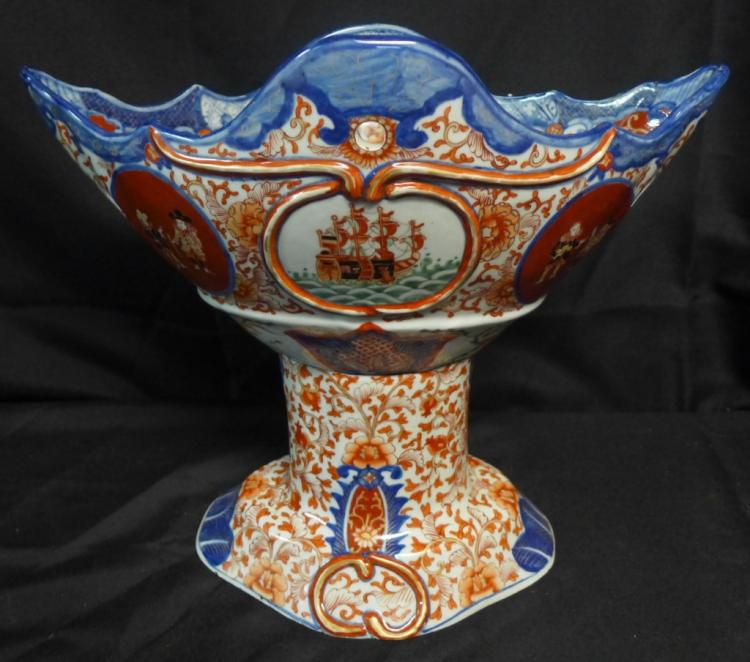 Imari Black Ship Dutchmen Porcelain Centerpiece