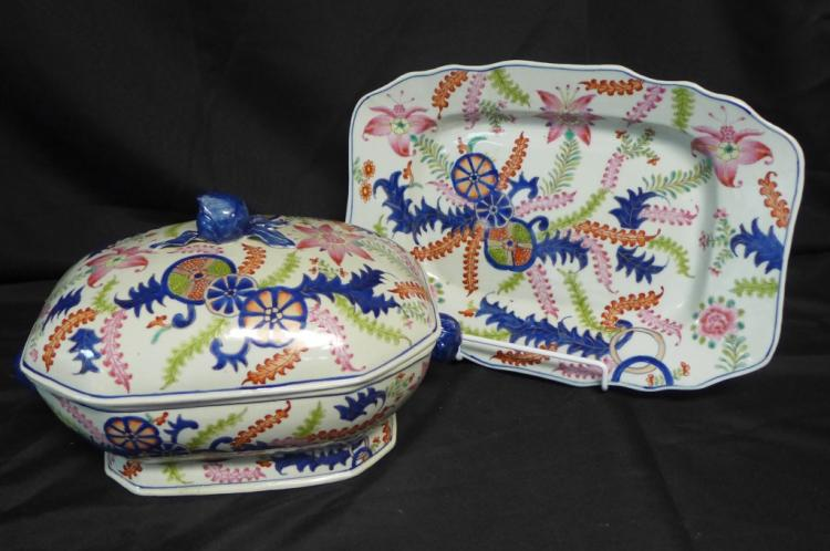 Antique Imari Tobacco Leaf Tureen and Stand