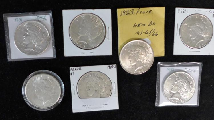 Seven Peace Silver Dollars (1921-1935)