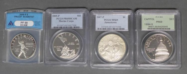 Four Graded US Commemorative Silver Dollars
