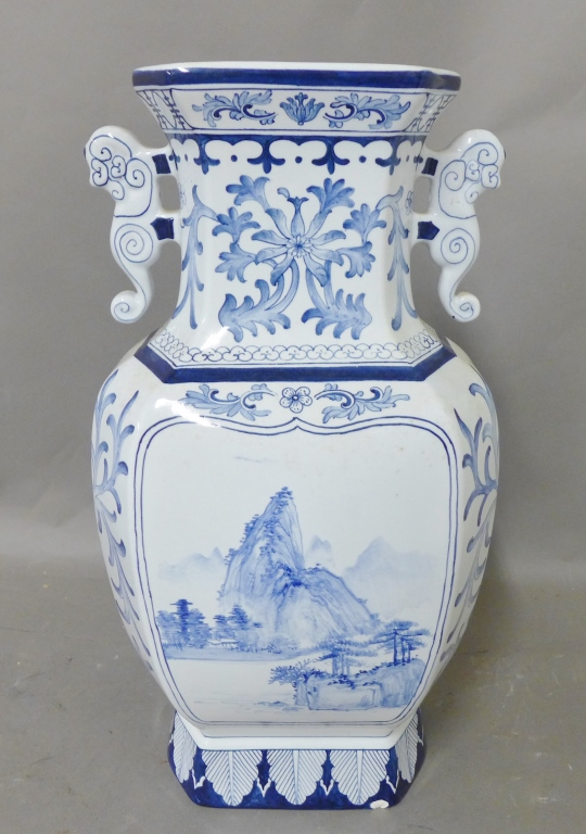 Large Blue and White Asian Vase