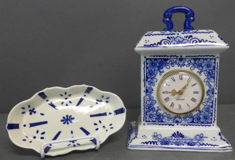 Blue and White Clock and Trinket Dish