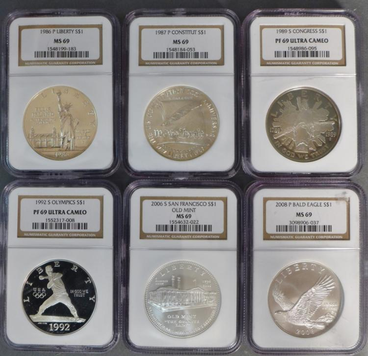 Six Graded US Commemorative Silver Dollar Coins