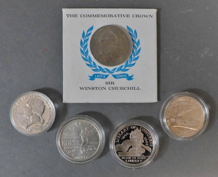 Five US Commemorative Silver Dollars