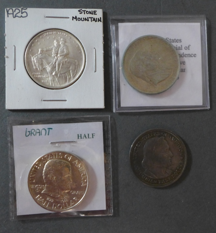 Four Commemorative Half Dollar Silver Coins