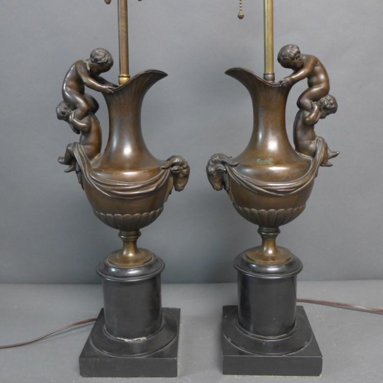 Pair Bronze & Marble Ewers as Lamps