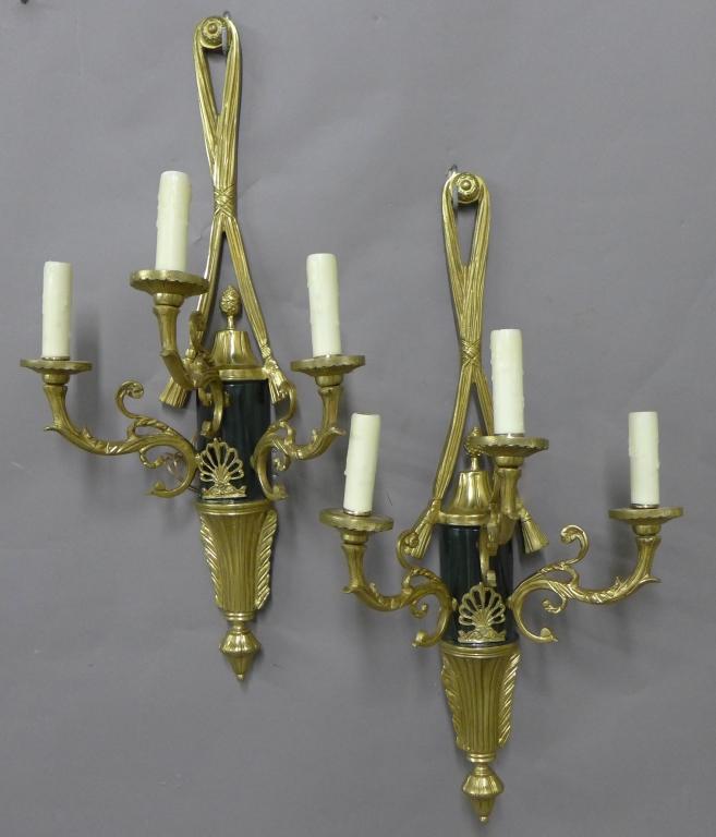 Pair Neoclassical Brass Sconces