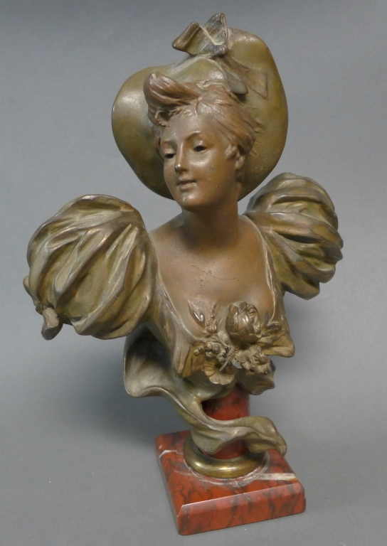Female Bust on Red Marble Plinth