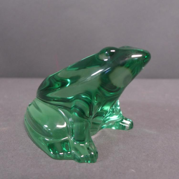 Baccarat Green Crystal Frog