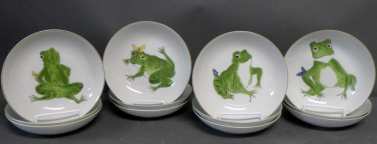 12 Frolicking Frogs Plates by Villa Vanilla