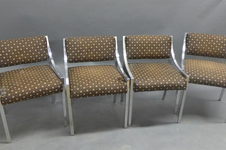 Modern Chrome and Upholstered Chairs