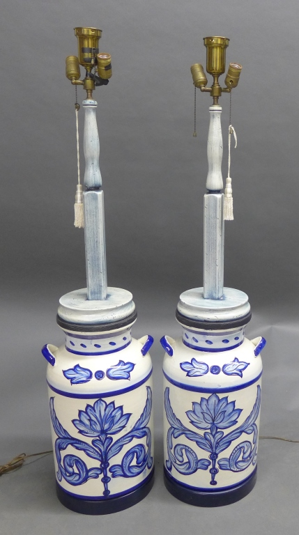 Pair Large Blue and White Floor Lamps