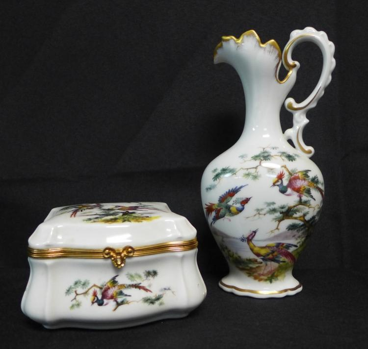 Limoges Trinket Box and Ewer