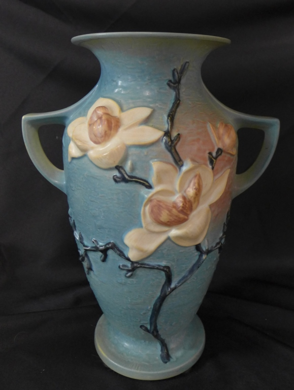 Large Roseville Double Handled Magnolia Vase