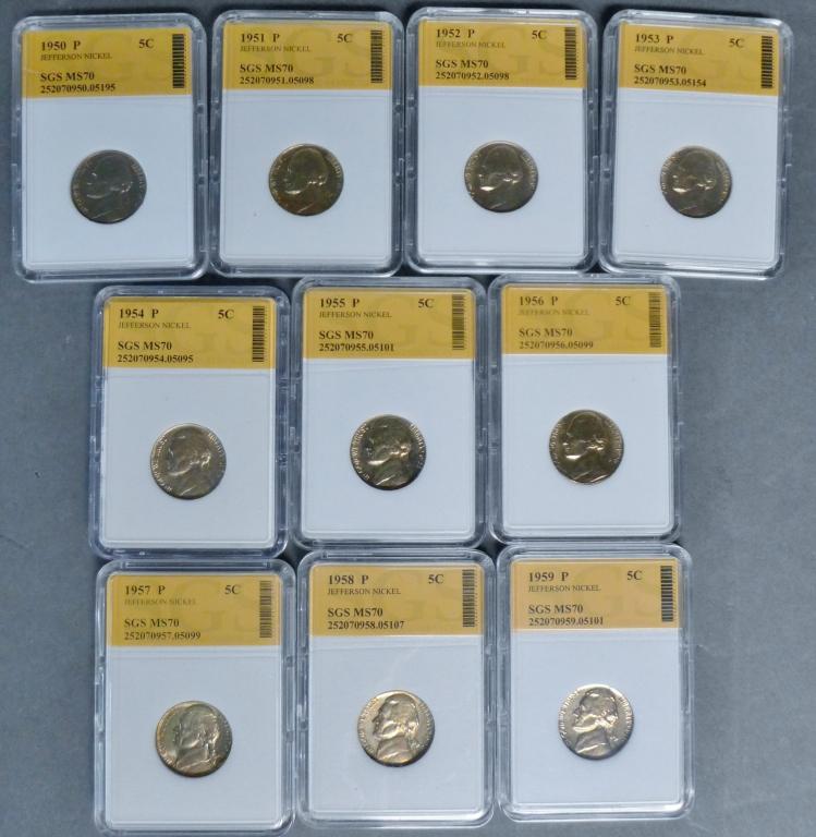 Complete set of Ten 1950's Jefferson Nickels