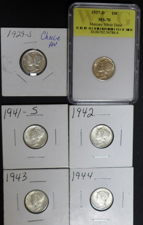 Selection of 6 Mercury Dimes