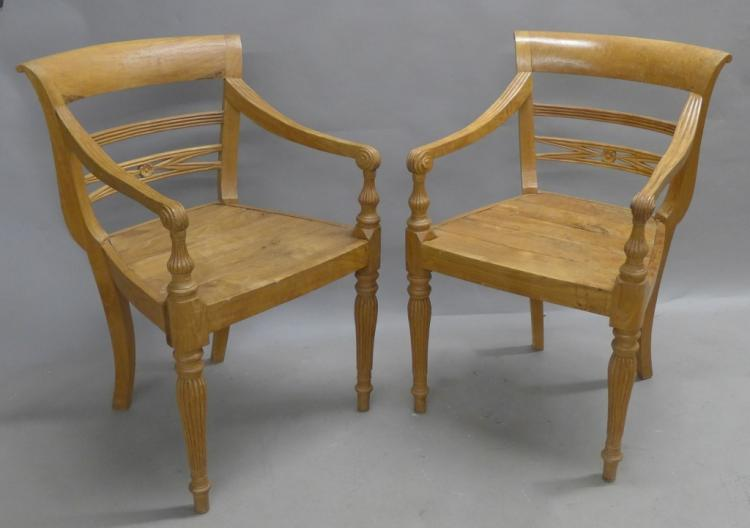 Pair Antique Solid Wood Arm Chairs