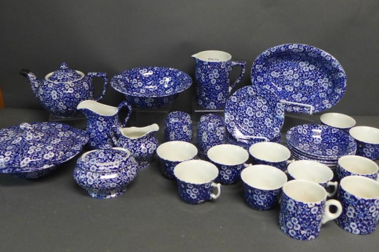 Grouping of Blue Calico by Staffordshire England