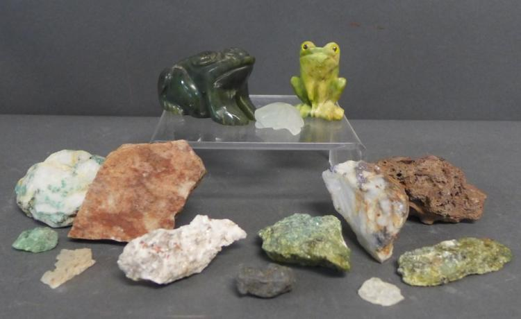 Rock and Carved Frog Collection