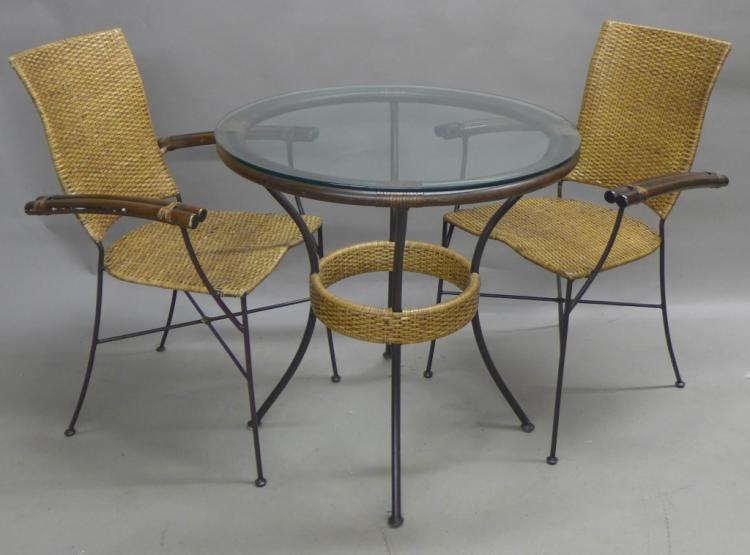 Modern Metal and Woven Bamboo Bistro Set