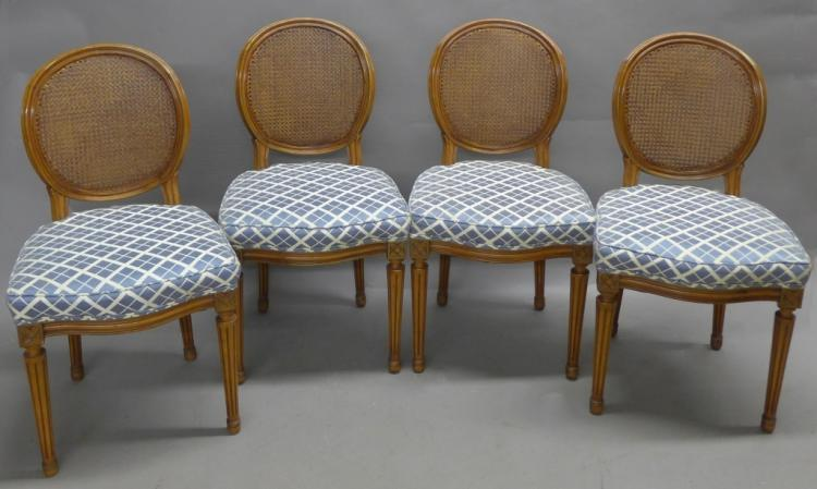 Set of Four Louis XVI Style Dining Chairs