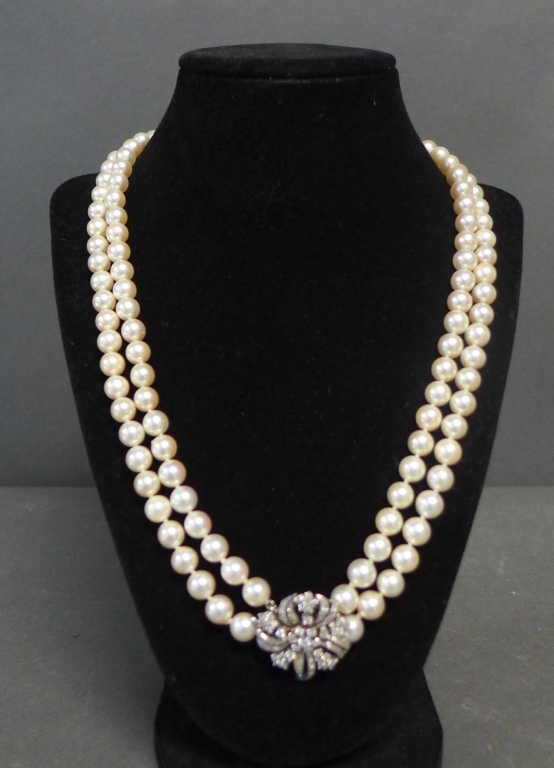 Pearl, White Gold and Diamond Necklace