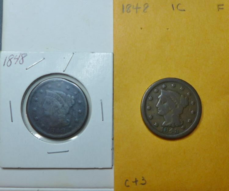 Two 1848 Braided Hair Large One Cent Coins