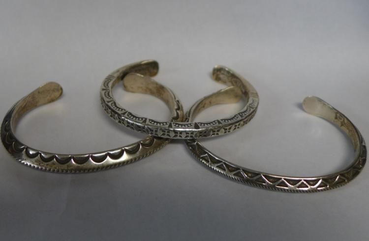 Native American Sterling Silver Cuff Bracelets