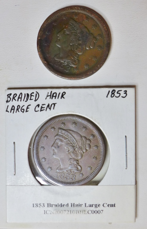 Two 1853 Braided Hair Large One Cent Coins