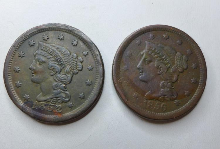 Two Braided Hair Large One Cent Coins 1852 & 1856