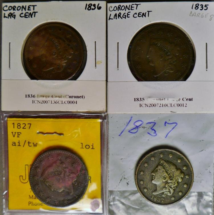 Four Coronet Head Large One Cent Coins