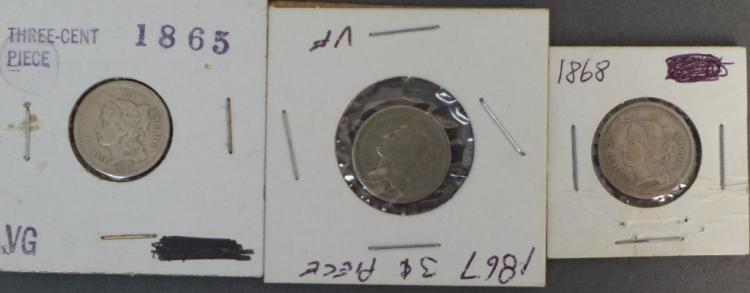 Three 3 Cent Nickels 1865, 1867 & 1868