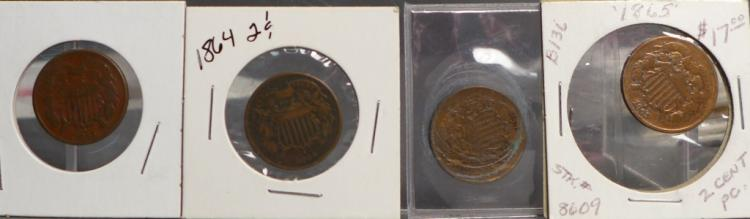 Four Shield Two Cent Piece Coins 1864 & 1865