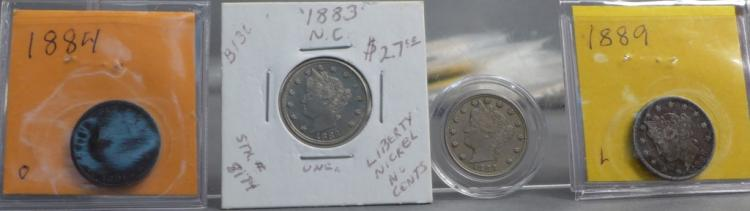 Four Liberty Head Five Cent Coins