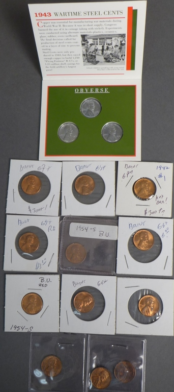 Collection of 12 Lincoln Wheat One Cent Coins