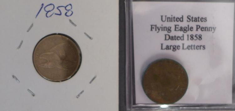 Two 1858 Flying Eagle One Cent Coins