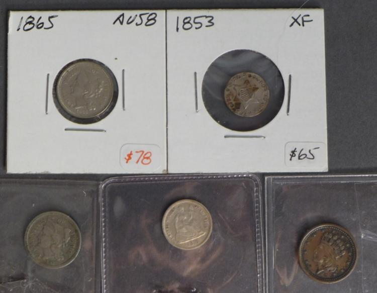 Assortment of 3 Cent & 5 Cent Coins