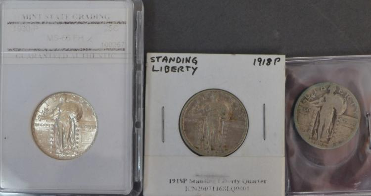 Three Standing Liberty Quarter Dollar Coins
